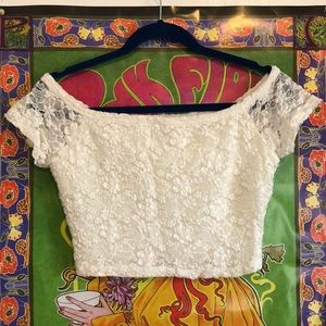Hollister White Lace Crop Top NWOT